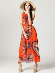 Bohemian Style Orange Animal Print Pleated Print Chiffon Crewneck Womens Maxi Dress