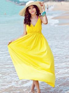 Bright Yellow Cotton VNeck Casual Maxi Dress