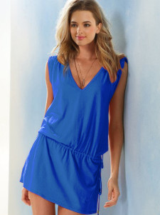Image of Copricostume blu scuro casual con scollo a V in cotone
