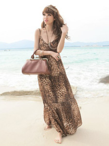 Sexy Brown Leopard Print Backless Print Chiffon Straps Neck Womens Maxi Dress