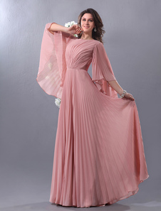 Blush Pink Evening Dress Chiffon Bell Sleeve Formal Dress Pleated V Back Floor Length Prom Dress