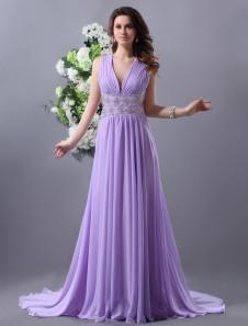 Milanoo UK  Elegant A-line Lavender Chiffon Beading V-Neck Court Train Fashion Prom Dress