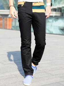 Black Color Block Cotton Straight Pants For Men
