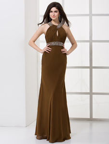 Formal Chiffon Pleated Halter Women's Evening Dress 