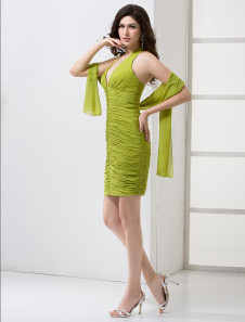 Hunter Green Pleated V-Neck Chiffon Knee-Length Cocktail Dress