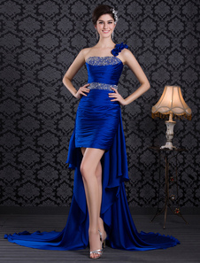 Image of Royal Blue Beading One-Shoulder Low High Prom Dress