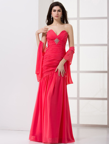 Formal Fuchsia Chiffon Pleated Sweetheart Neck Sexy Evening Dress 