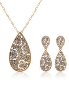Parure de bijoux nuptiale ethnique, métal doré et diamant