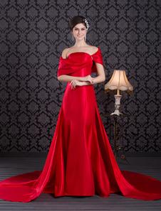 robe énigmatique de soirée rouge sirène en taffetas bustier à traîne courte