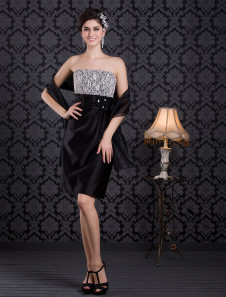 Black Beading Strapless Satin Knee-Length Cocktail Dress For Women 
