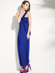Sexy Royal Blue Pleated Polyester OneShoulder Maxi Dress