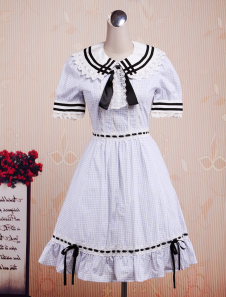 Sweet Blue Short Sleeves Cotton Lolita One-Piece