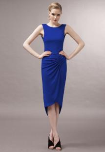 Sexy Royal Blue Pleated Polyester Crewneck Maxi Dress