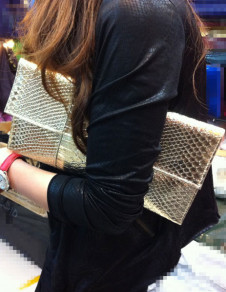 Popular Snake Skin Print Woman's Clutch Bag