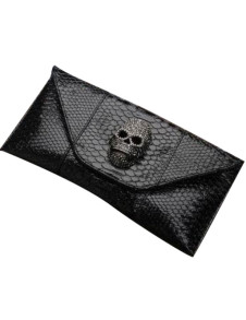 Skull Pattern Snake Print Clutch Bag For Woman