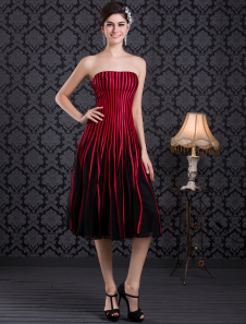Striped Red Satin Pleated Strapless Evening Dress