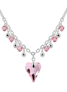 Sweet Heart Shape Metal Crystal Necklace For Women