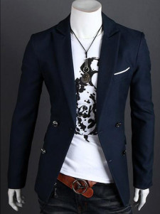 Handsome Dark Navy Cotton Men's Casual Suits