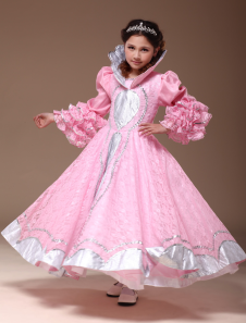 Image of Bella rosa poliestere principessa reale e Kids Costume Carnevale