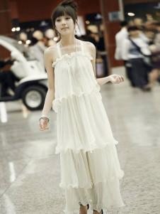 Sweet White Pleated Ruffles Chiffon Straps Neck Womens Maxi Dress
