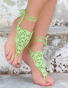 beach-wedding-footwear-elegant-green-crochet-fashion-barefoot-shoe-accessories