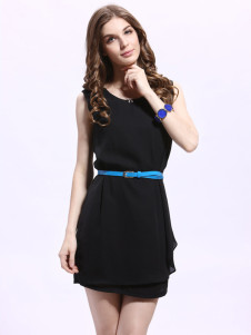 Sweet Scoop Neck Chiffon Mini Dress