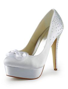 Image of Scarpe della sposa di prua elegante strass mandorla Toe tacco a spillo