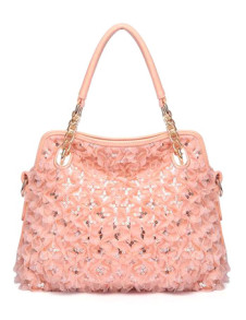Beautiful Pink Cut Out PU Leather Woman's Tote Bag