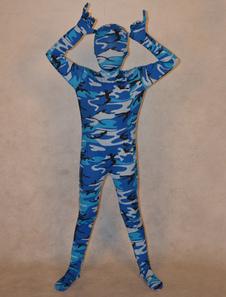 Image of Abbigliamento mimetico blu completo lycra spandex per bambini unisex  Carnevale