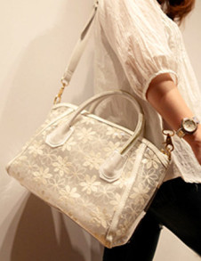 Sexy Lace Flower Pattern PVC Women's Shoulder Bag