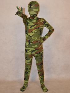 Image of Abbigliamento mimetico verde militare completo lycra spandex per bambini unisex  Carnevale
