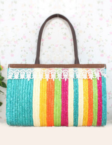 Multi Color Striped Lace Women's Shoulder Bag
