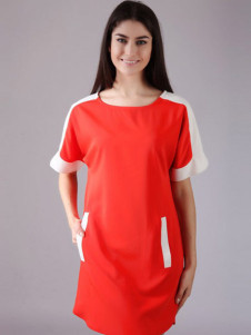 Daily Orange Polyester Two-Tone Scoop Neck Short Sleeves Women's Shift Dress