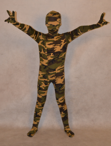 Image of Abbigliamento mimetico marrone completo lycra spandex per bambini unisex  Carnevale