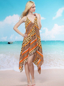 Stylish Multi Color Velour Animal Print Vintage Dress For Women