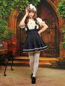 Image of Carino Multi colore manica corta cotone Blend abiti Lolita