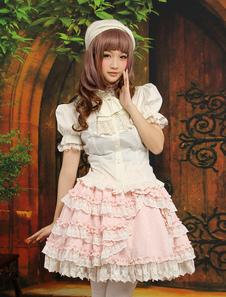 Image of Pizzo dolce Multi colore stratificato manica corta cotone Blend abiti Lolita