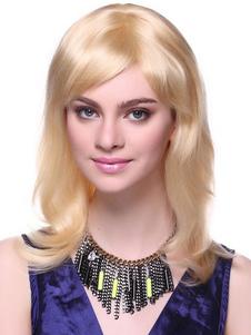 Medium dritto alla moda oro capelli umani parrucca per donna