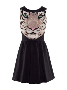 Black Animal Print Crewneck Cotton Mini Dress