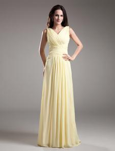 Sheath VNeck Pleated Daffodil Chiffon Long Bridesmaid Dress