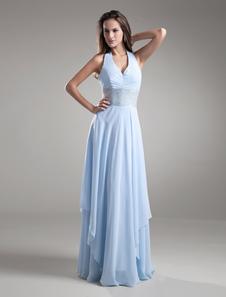 Chiffon Evening Dress Halter Backless Baby Blue Formal Dress Floor Length  Beading Waist Long Bridesmaid Dress