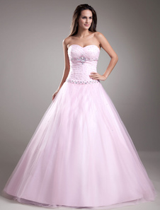 Sweet Pink Beading Tulle Sweetheart Neck Womens Ball Gown