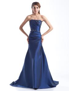 Image of Vestito per la madre della sposa blu royal attillato in taffettà