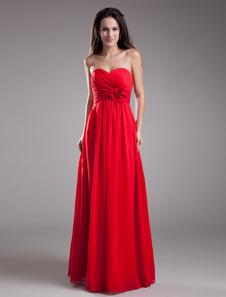 Robe demoiselle d'honneur rouge avec fleur