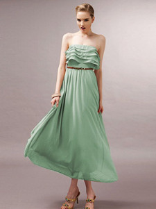 Elegant Solid Color Tiered Polyester Strapless Womens Maxi Dress