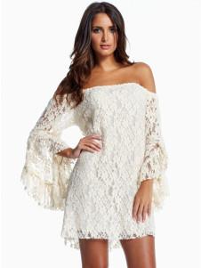 Enticing White Knit Bateau Neck Polyester Mini Dress