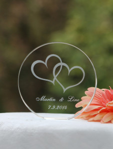 Chic Heart Pattern Crystal Fashion Cake Toppers For Wedding