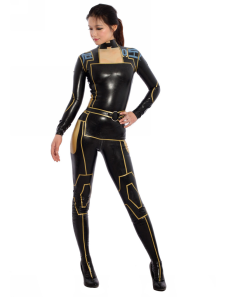 Sexy Latex  Catsuit Black Ninja Bodysuit