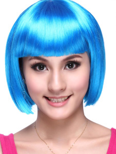Blue Kanekalon Straight Sexy Short Halloween wig For Woman