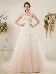 Aline Strapless Strapless Sequin Tulle Ivory Brides Wedding Dress Milanoo